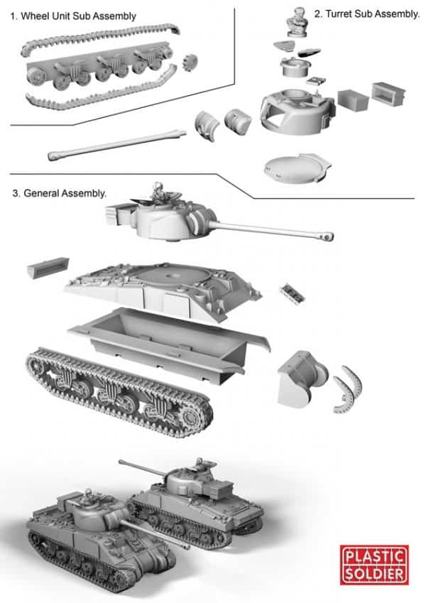 15mm Easy Assembly Sherman M4A4 and Firefly Tank-2541